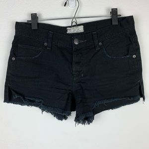Free People | Black Mid-Rise Cutoff Shorts